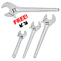 Crescent CRE-AC224BKP 24 inch Adjustable Tapered Handle Wrench + FREE 12, 15 and 18 inch Adjustable Wrenches from Hanover Tool,